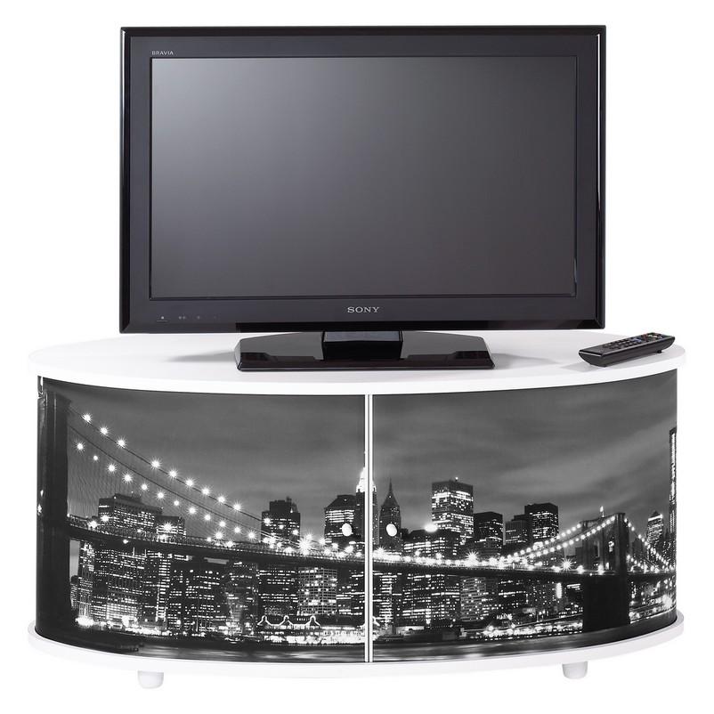 Meuble tv blanc grand ecran fa ade imprim e - Meuble tv grand ecran ...