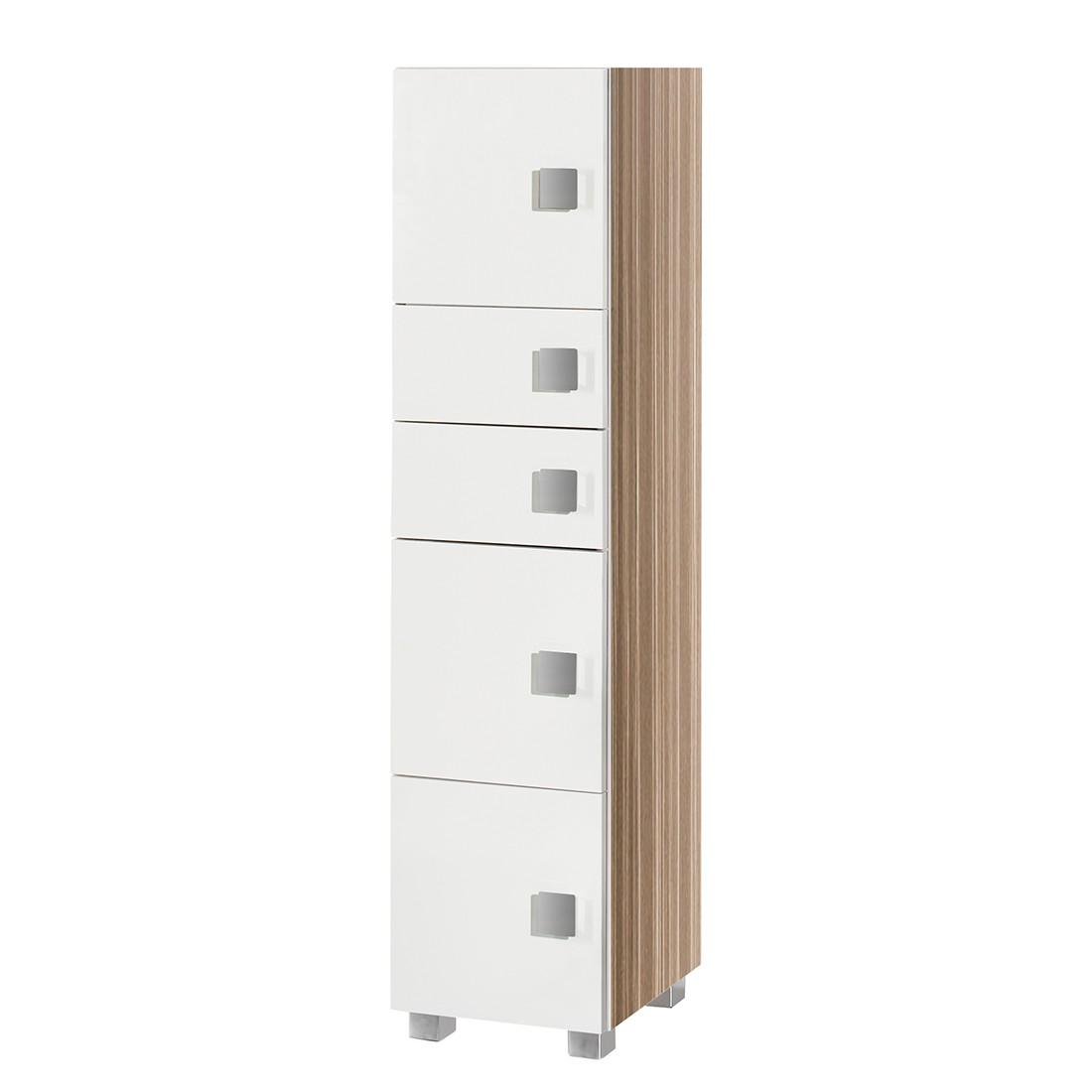 midischrank genf wei glanz zebrino beige schmal 3 t rig. Black Bedroom Furniture Sets. Home Design Ideas