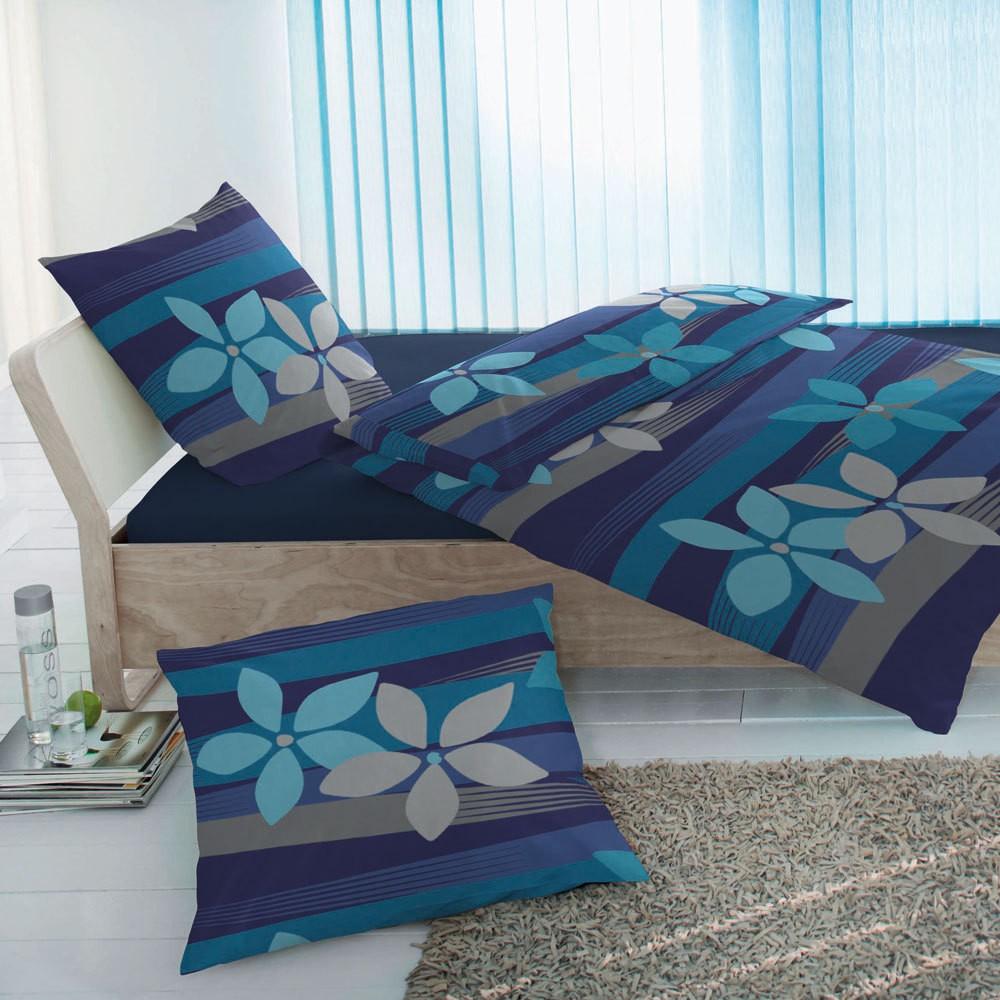 Mikrofaser-Fleece Bettwäsche Blue Flower – 100% Polyester Mehrfarbig – Ausführung 155×220 cm + 80×80 cm, Bettwaren-Shop online kaufen