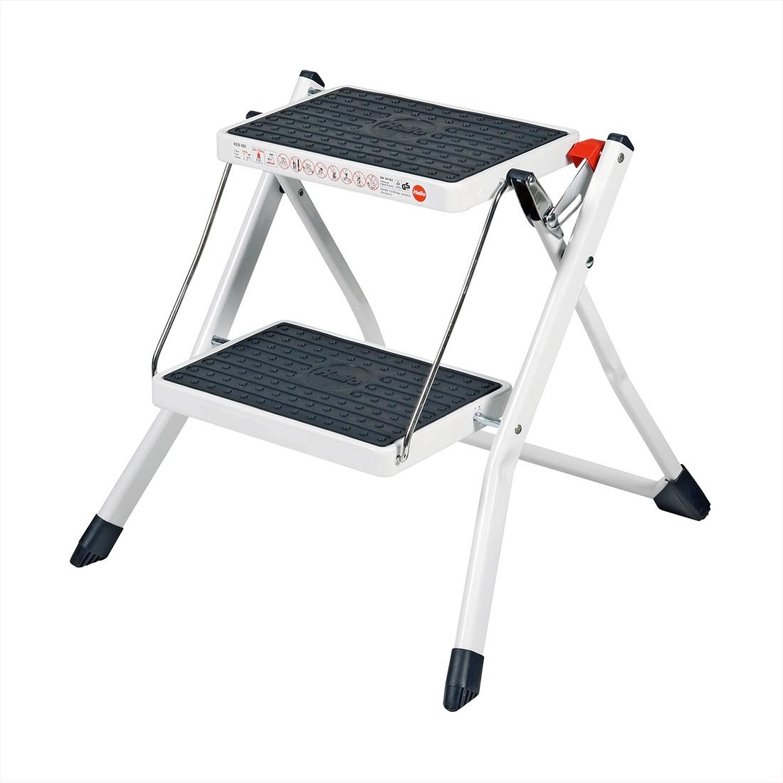 Mini-Klapptritt mit 2 Stufen – Stahl Schwarz, Weiß, Hailo günstig