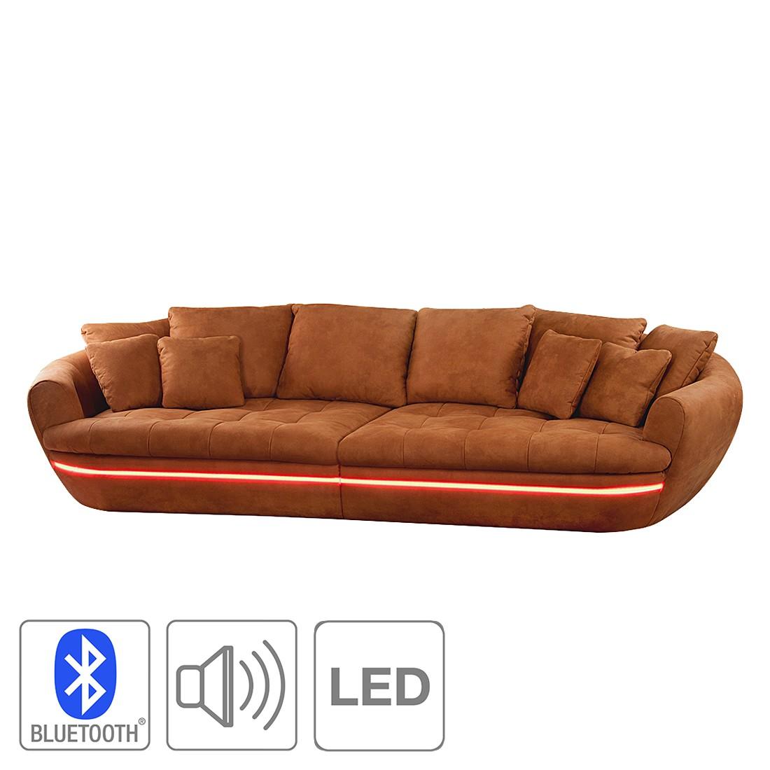 EEK A+, Bigsofa Camrose (inkl. Beleuchtung) – Microfaser Curry – Mit integriertem Bluetooth Soundsystem, loftscape kaufen