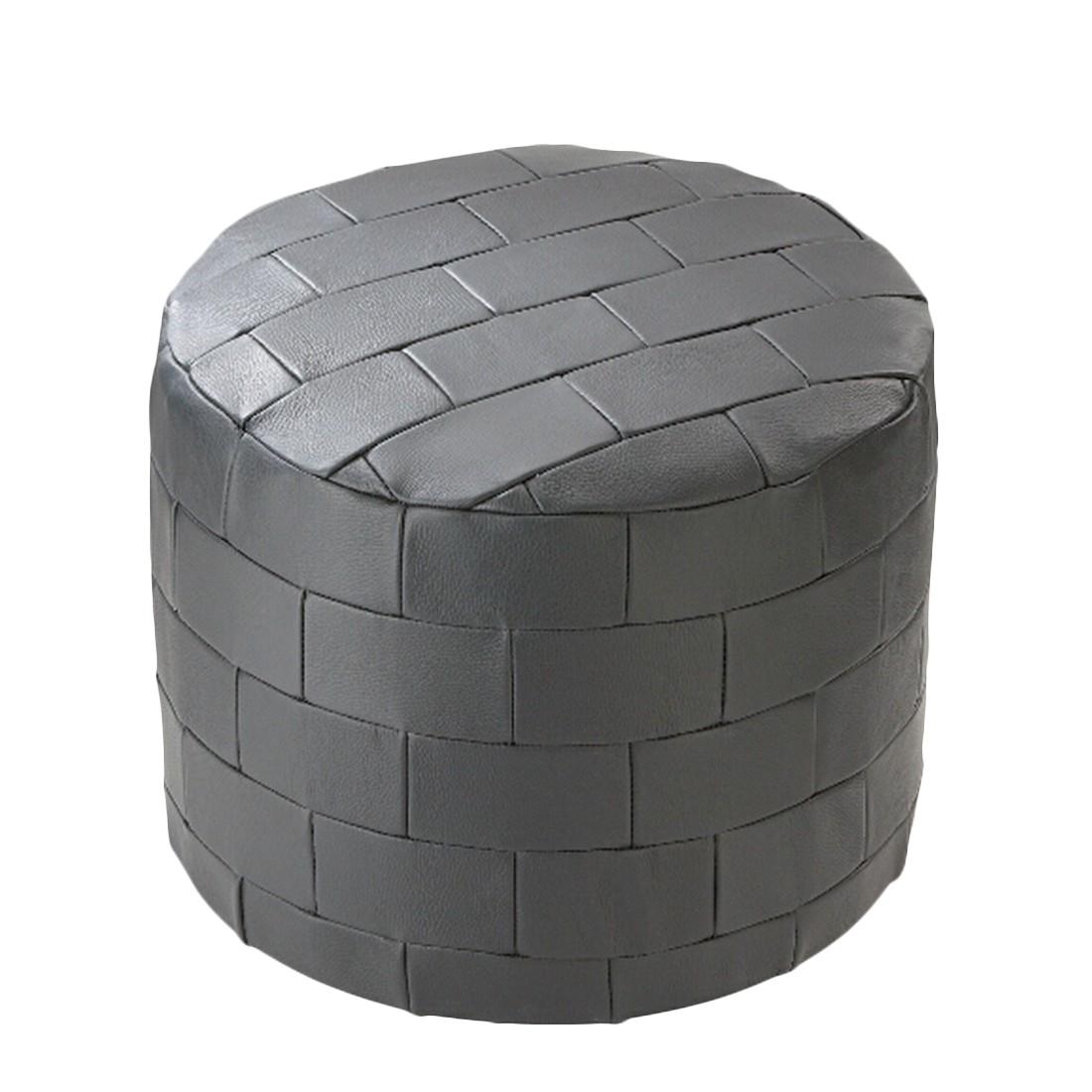 Möbelhocker rund  Echt Leder Patchwork schwarz – 50 x 50 cm, KC-Handel jetzt bestellen
