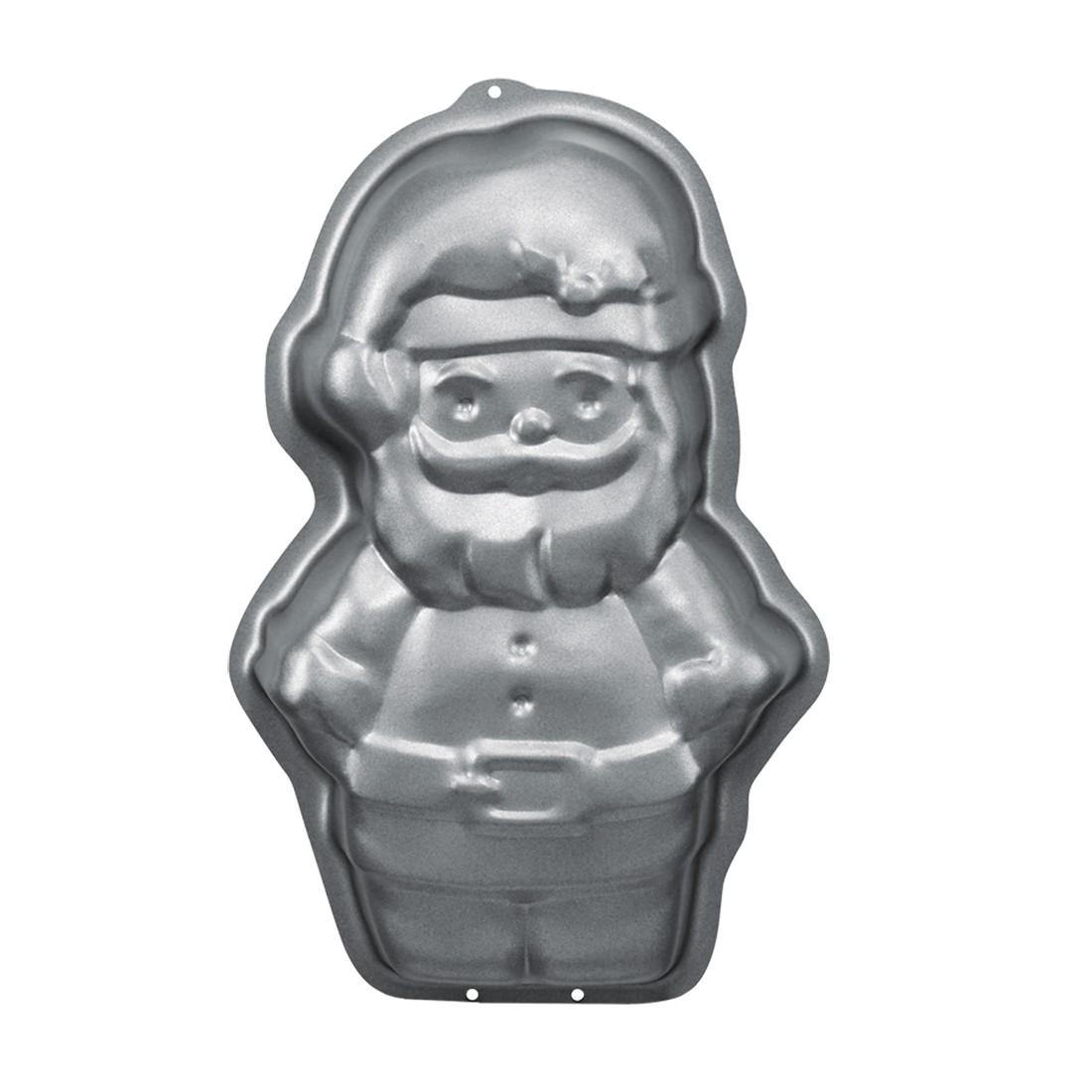 Motivbackform Weihnachtsmann antihaft – Stahl mit hochwertiger Antihaftbeschichtung Grau – 10 cm 2,5 cm, RBV Birkmann günstig kaufen