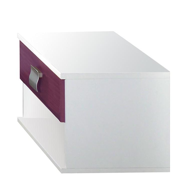 Nachtkommode Avallon - Weiß/Absetzung Brombeer