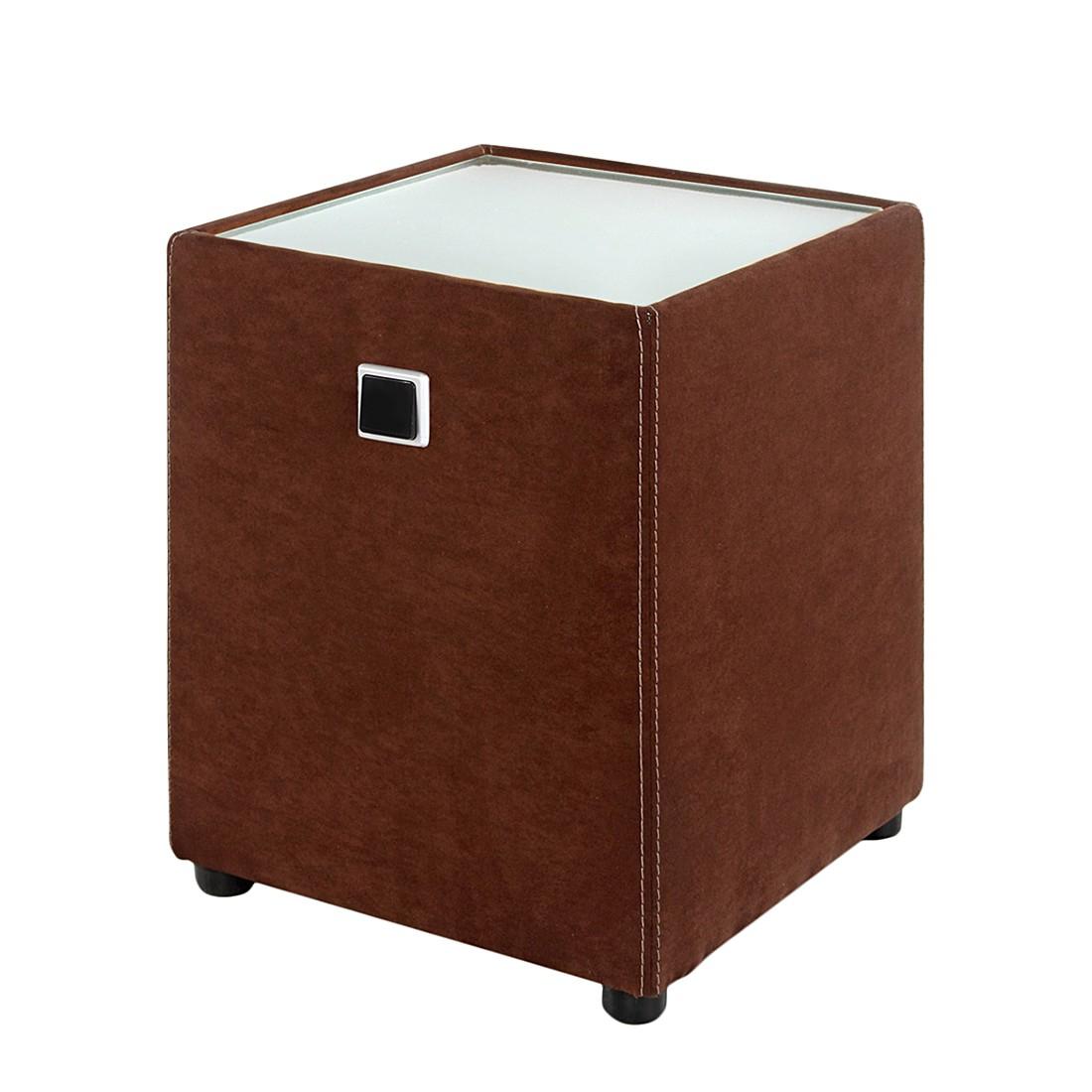 Nachtkonsole Shine (Inkl. Beleuchtung) – Microfaser Braun, Home Design online bestellen