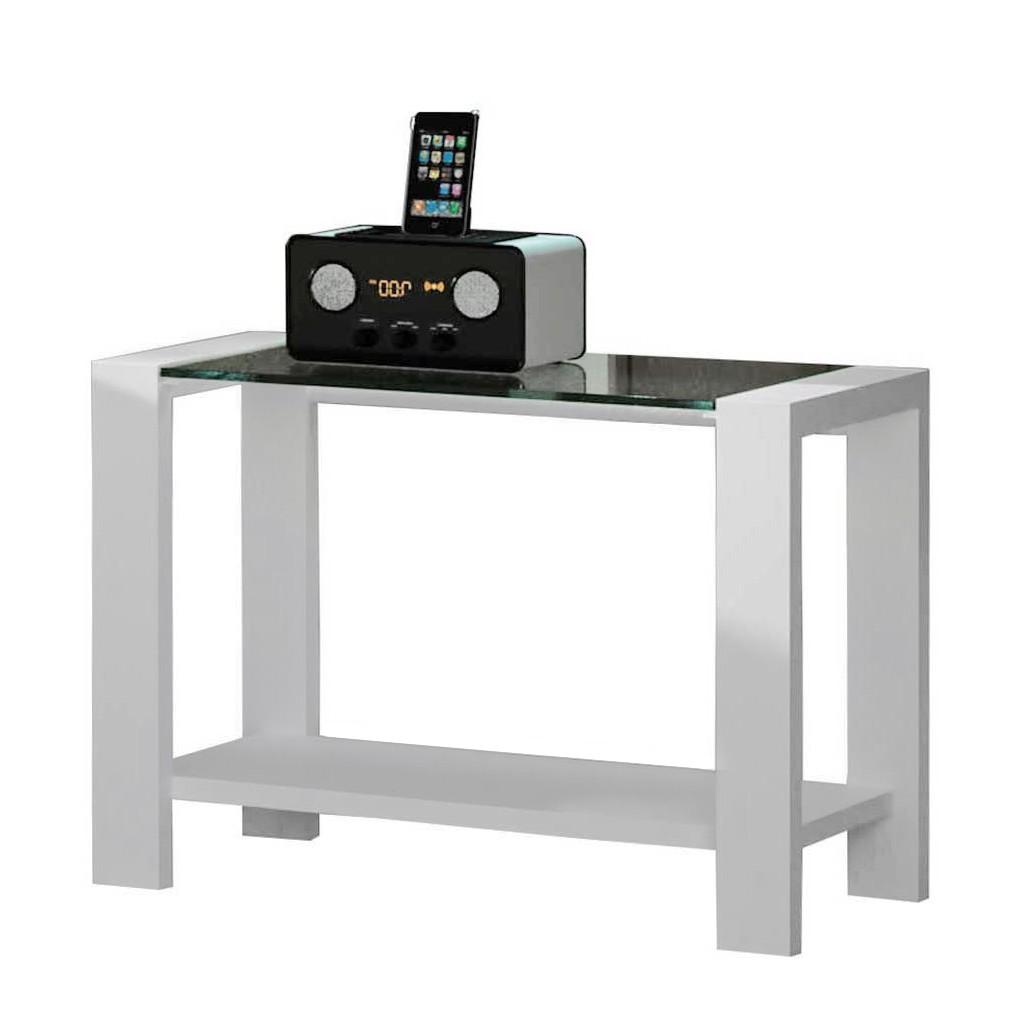 Nachtkonsole Soveca – Weiß/Rauchfarben – Stahl/Glas, Violata Furniture günstig bestellen