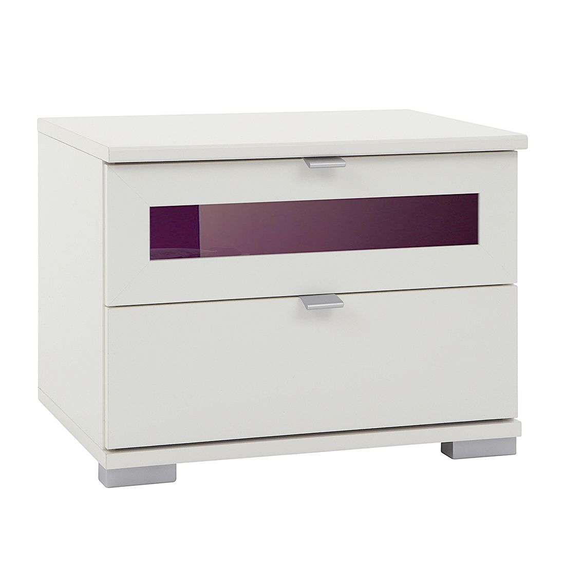 Nachtschrank Box Plus I – Alpinweiß/Brombeer – 2 Nachtschrank, Wimex günstig online kaufen