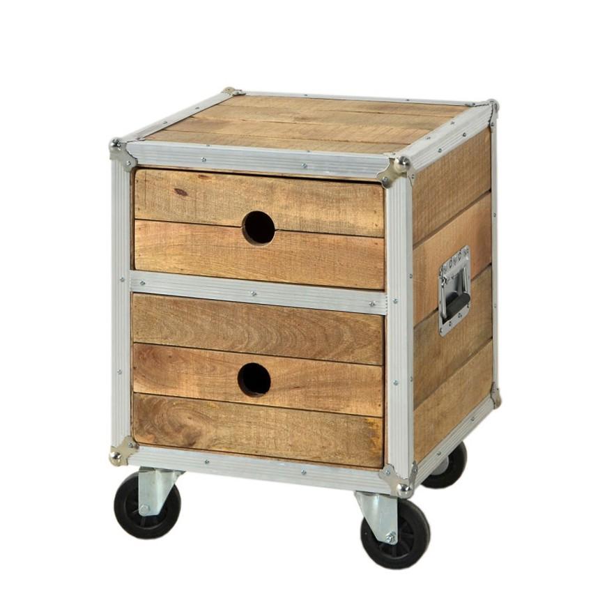 nachttischchen lions mango massivholz rollbar. Black Bedroom Furniture Sets. Home Design Ideas