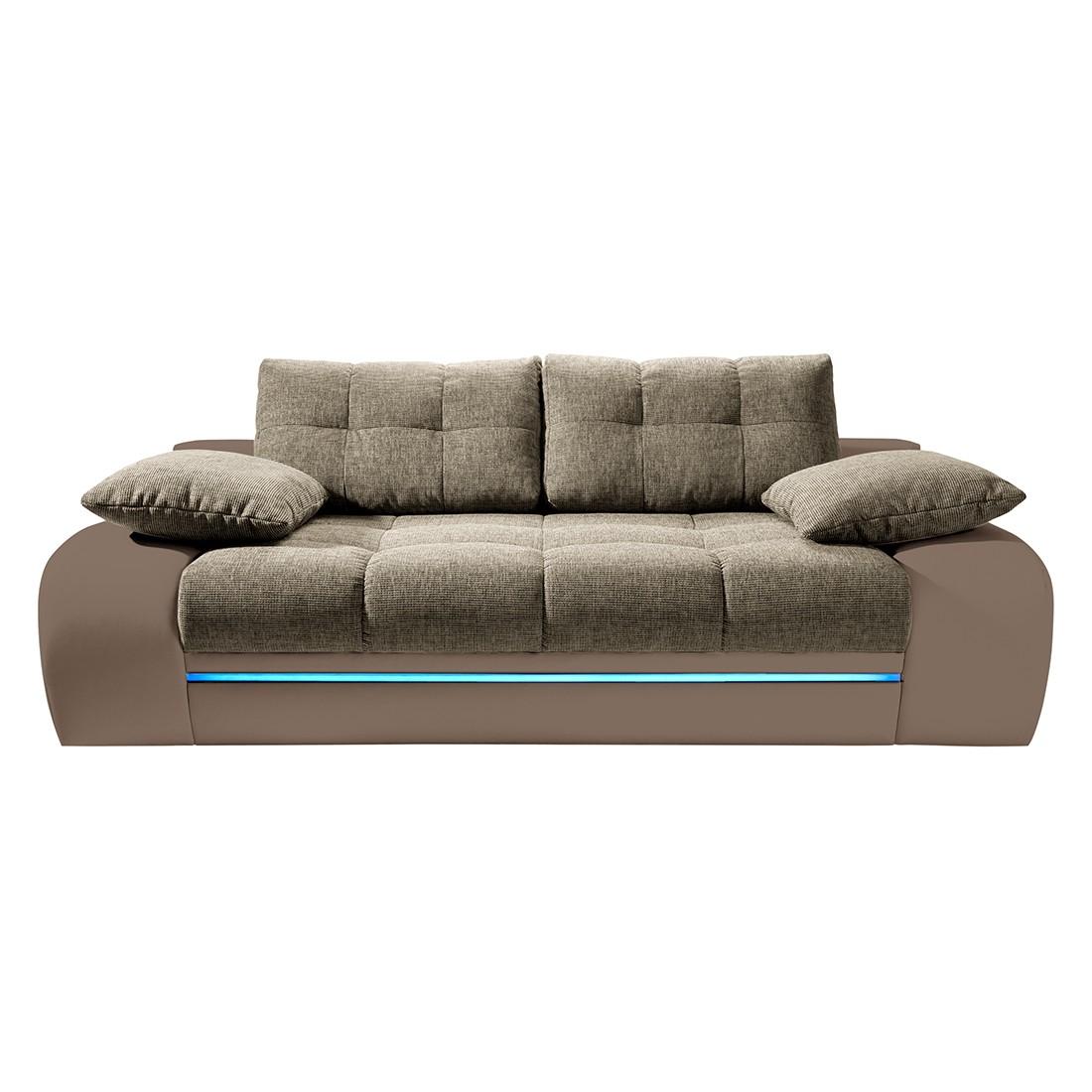EEK A+, Schlafsofa Rainbowlight (mit RGB-LED-Beleuchtung) – Kunstleder Cappuccino /Strukturstoff Macciato, loftscape jetzt bestellen
