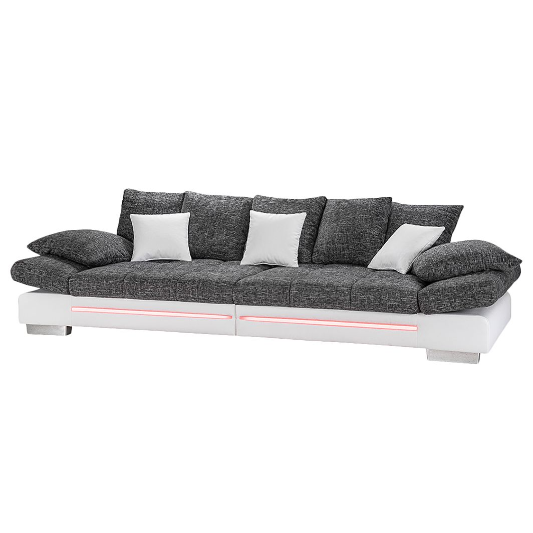EEK A+, Bigsofa Skyla (inkl. Beleuchtung) – Kunstleder Weiß/Webstoff Schwarz, loftscape bestellen