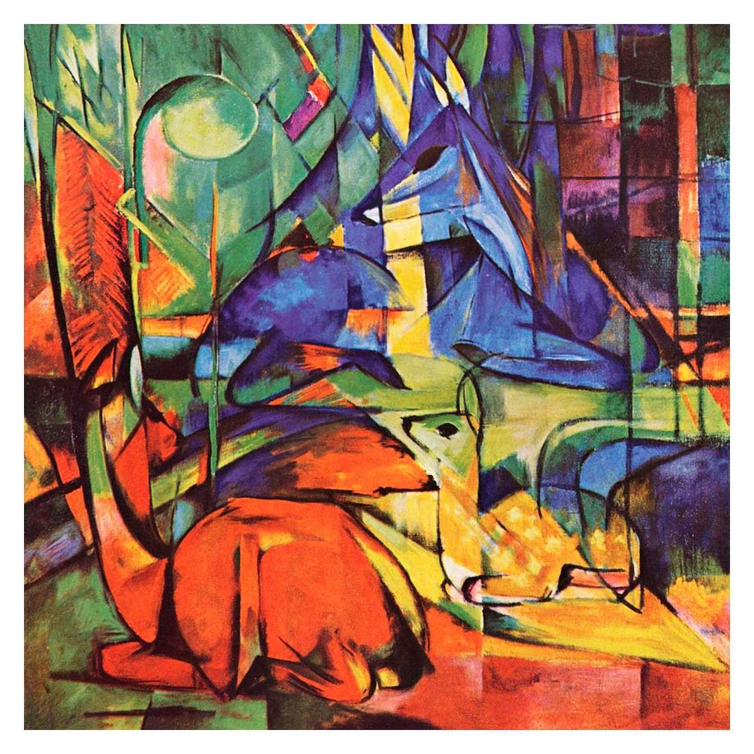 Ölgemälde Rehe im Walde II von Franz Marc – Größe 30 x 30 cm, yourPainting günstig