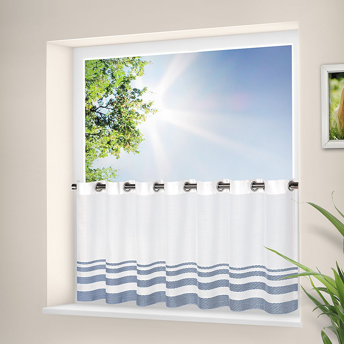 Ösenbistro Iva – Weiß / Blau, Home24Deko günstig online kaufen