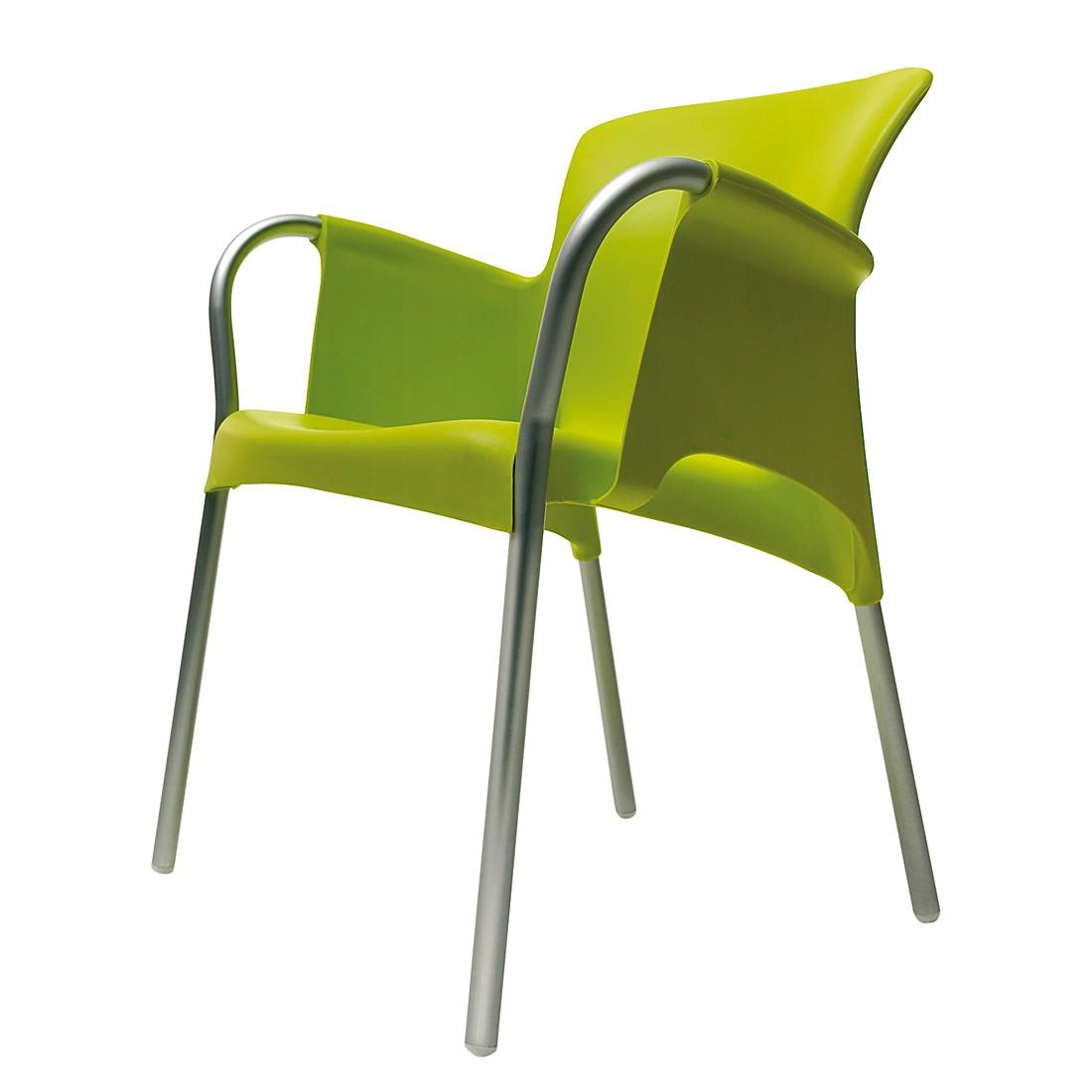 Armlehnenstuhl Oh (2er-Set) – Kunststoff/Aluminium – Grün, Blanke Design bestellen