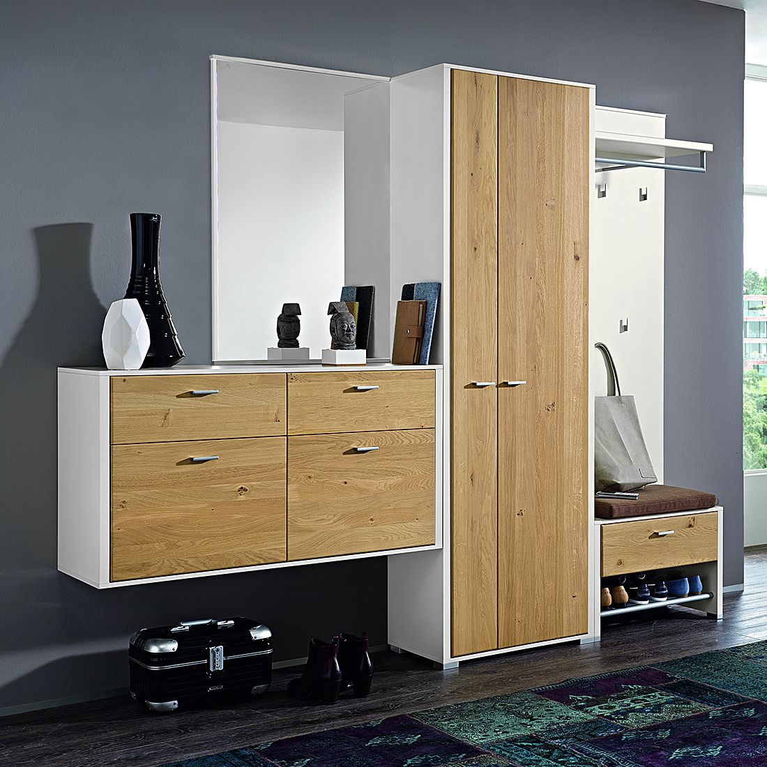 garderobenset canoa 5 teilig wei wildeiche bianco teilmassiv ohne beleuchtung. Black Bedroom Furniture Sets. Home Design Ideas