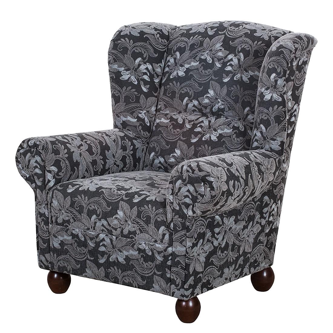 ohrensessel isabelle webstoff blumenmuster ohne hocker grau maison belfort. Black Bedroom Furniture Sets. Home Design Ideas