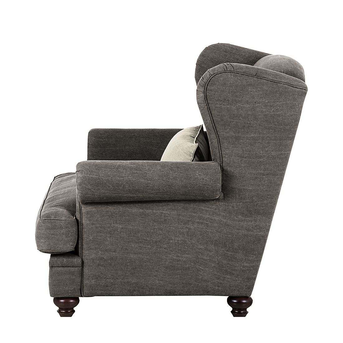 fauteuil oreilles davido tissu en coton gris fonc. Black Bedroom Furniture Sets. Home Design Ideas