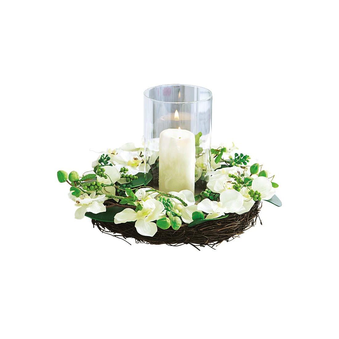 Orchideenkranz – Textilgewebe – Weiß/Grün, PureDay günstig bestellen