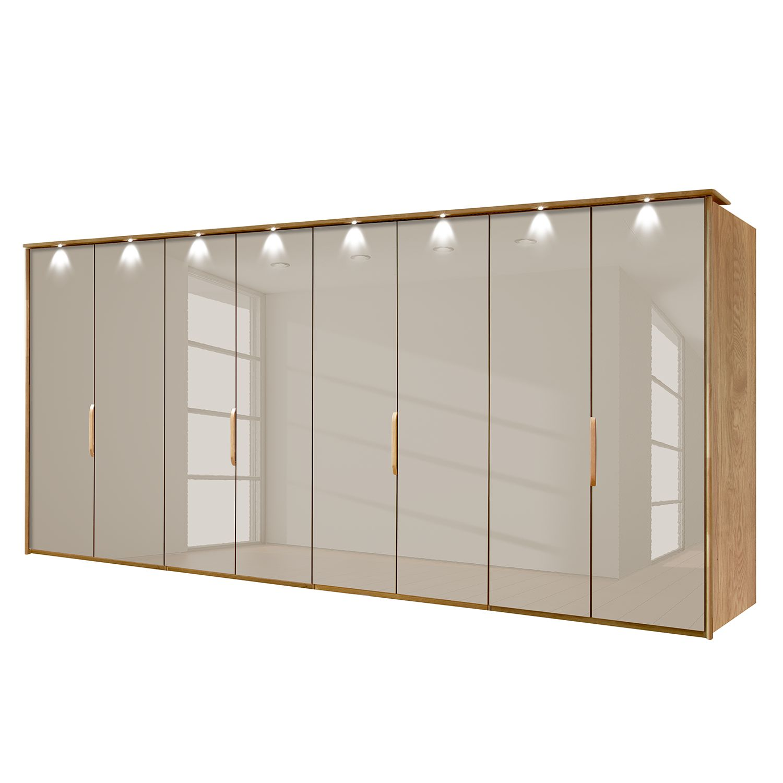EEK A+, Panoramaschrank Torino - Eiche teilmassiv - Mit Beleuchtung - 400 cm (8-türig) - Sahara - Mit beleuchtetem Passepartout, Althoff