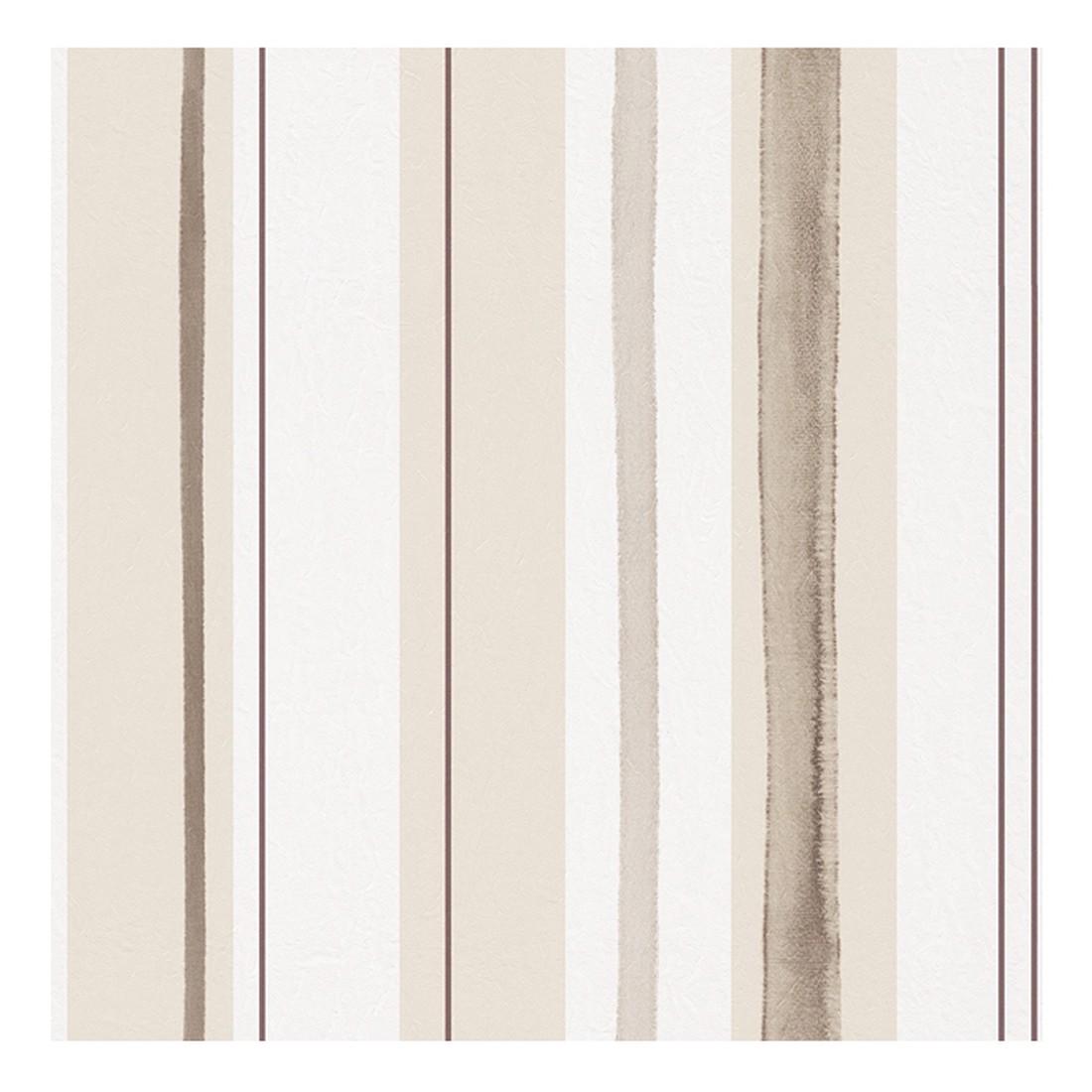Papiertapete Aquarelle – weiß, beige, braun, glänzend – glatt, Home24Deko günstig online kaufen