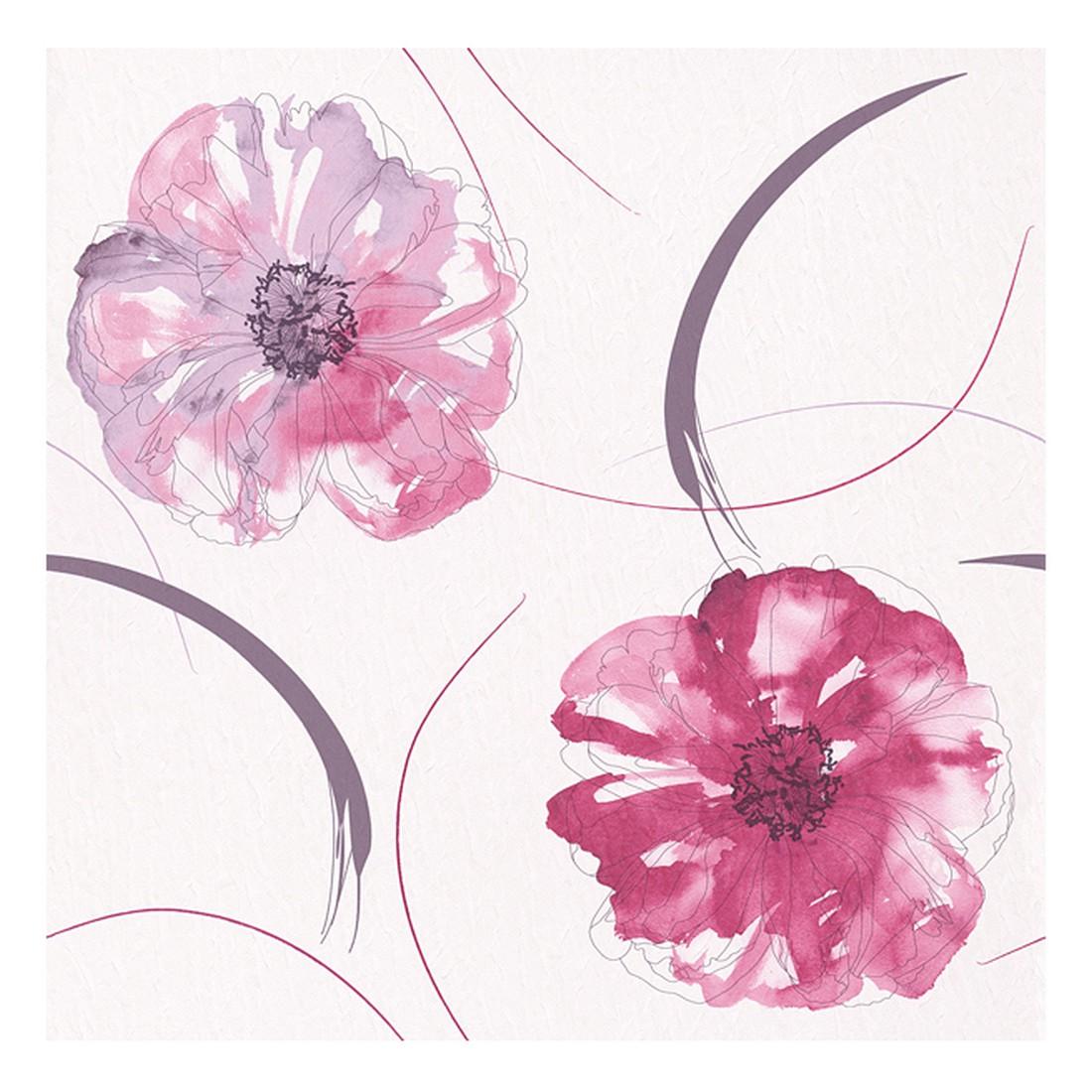 Papiertapete Aquarelle – weiß, erikaviolett, pastellviolett, glänzend – glatt, Home24Deko günstig
