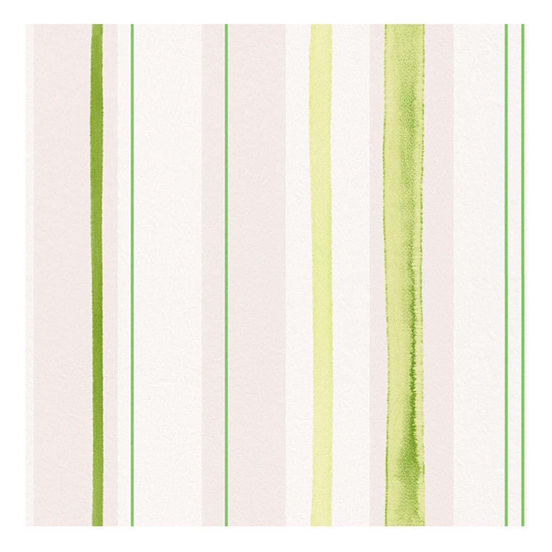 Papiertapete Aquarelle – weiß, grün, perlweiß, glänzend – glatt, Home24Deko bestellen