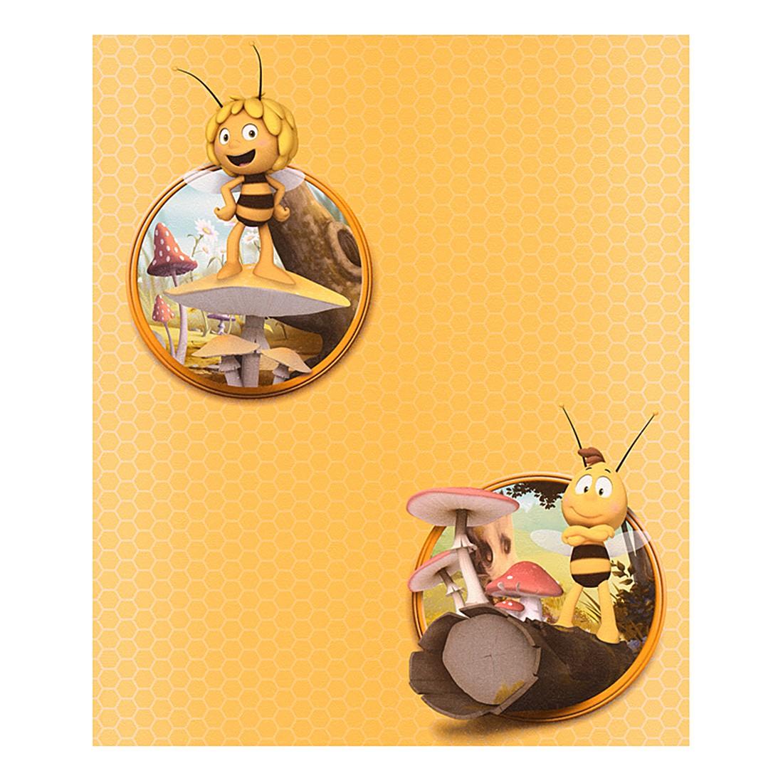 Papiertapete Biene Maya – gelb – orange – bunt – fein strukturiert, Home24Deko jetzt kaufen