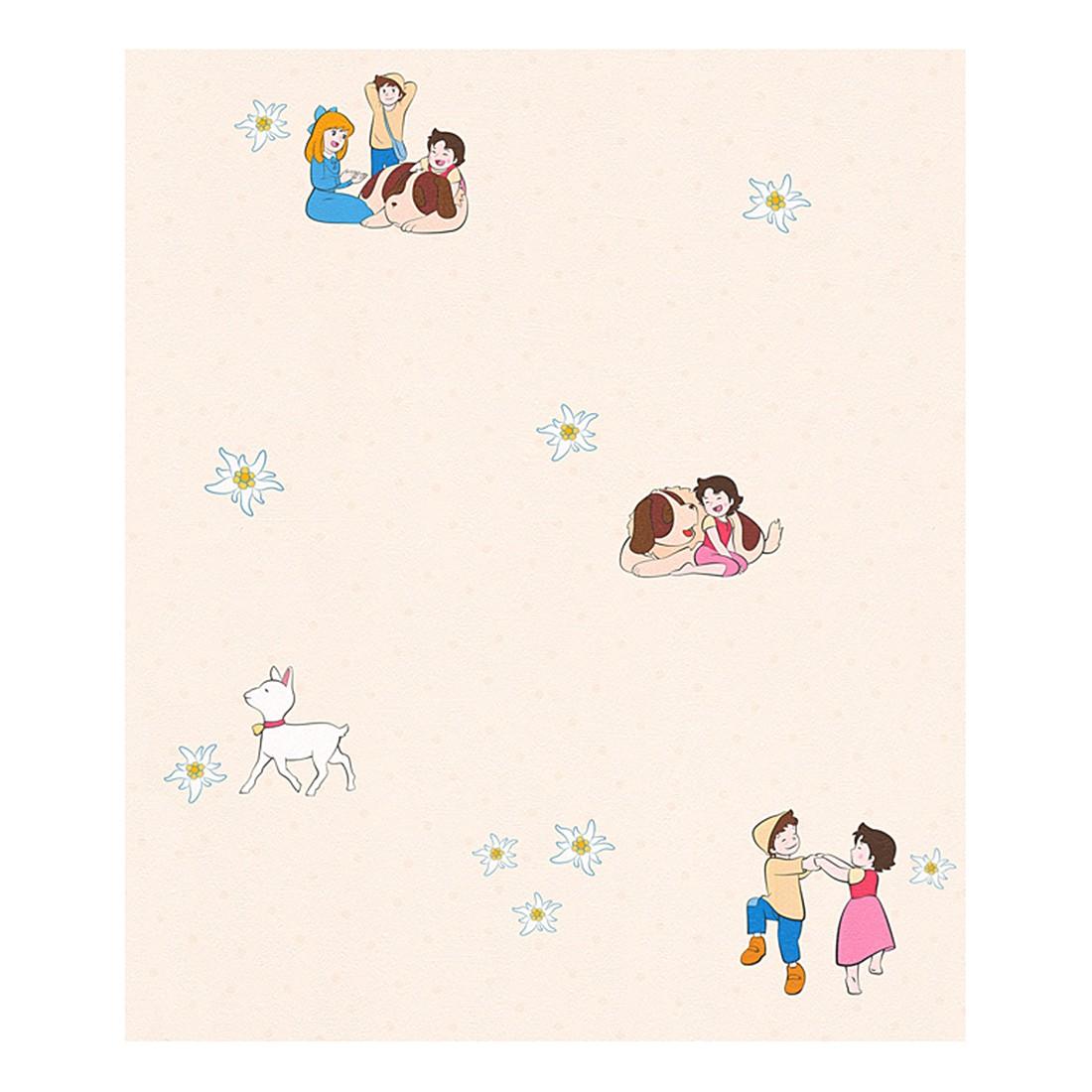 Papiertapete Heidi – hellelfenbein – bunt – fein strukturiert – Modell 2, Home24Deko online bestellen