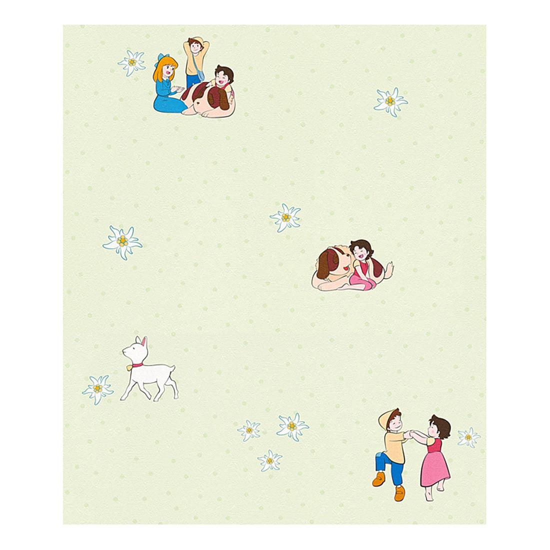 Papiertapete Heidi – pastellgrün – bunt – fein strukturiert – Modell 2, Home24Deko günstig kaufen