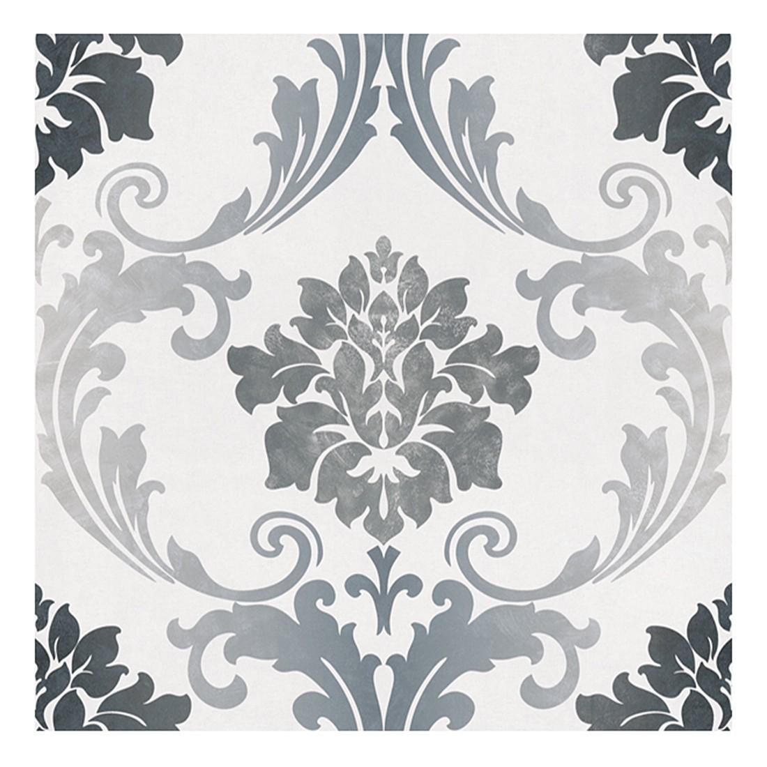 Papiertapete New Baroque – weiß – grau – metallic – glatt, Home24Deko online kaufen