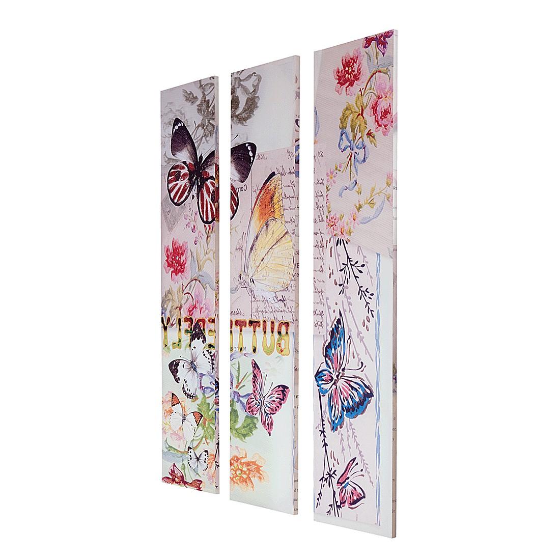 Paravent Butterfly - Tannenholz/Canvas - Bunt