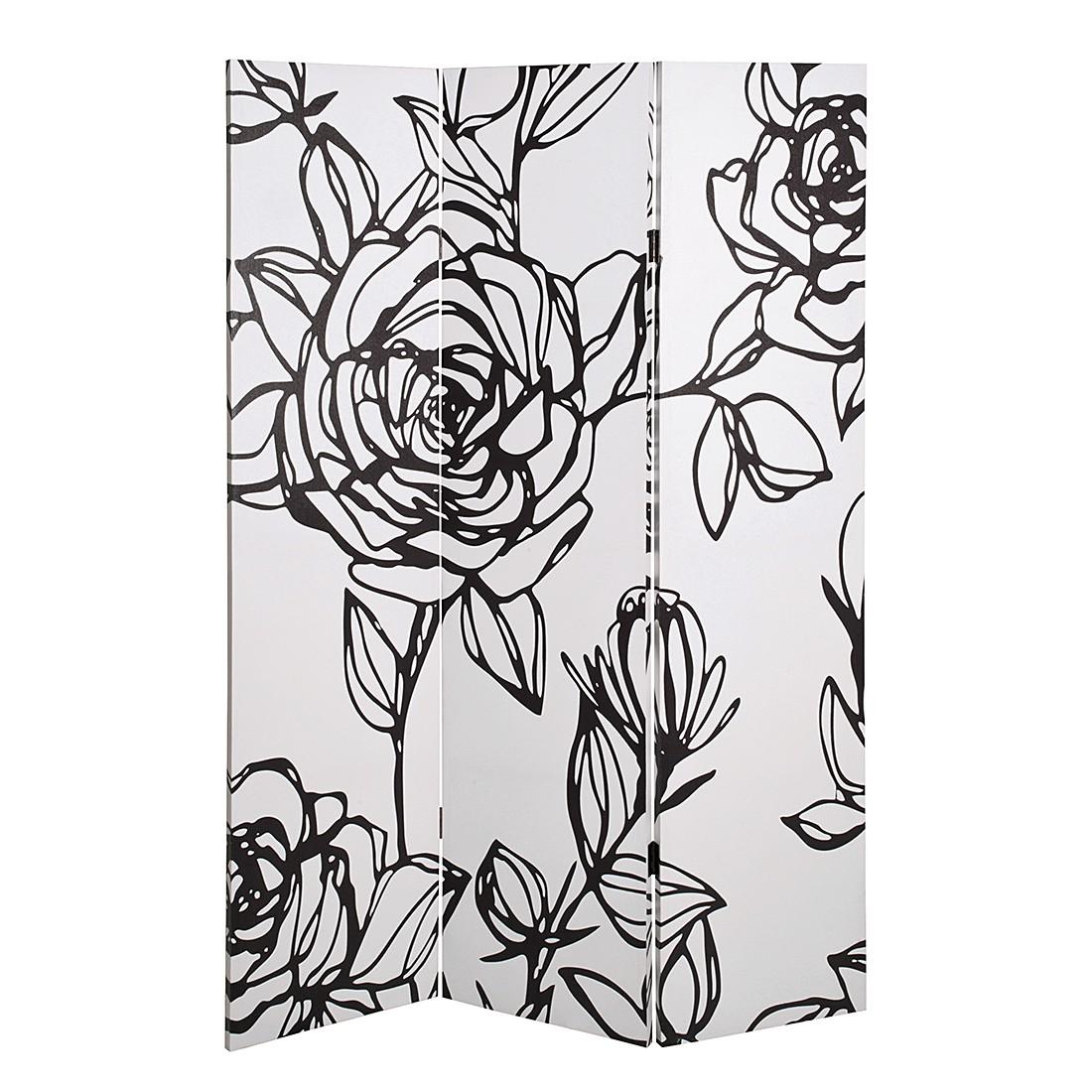 Paravent Flower - Weiß/Schwarz