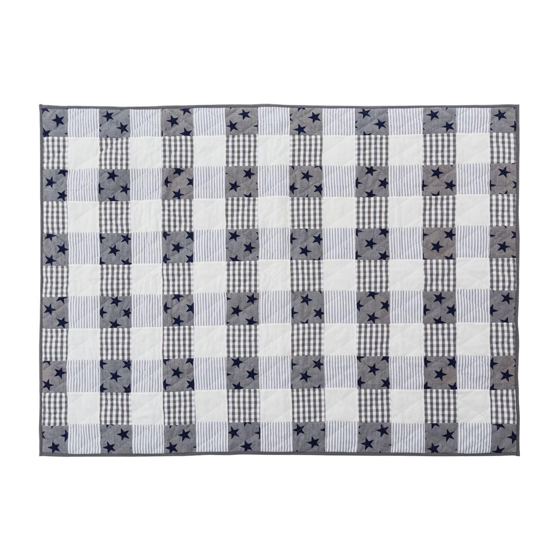 patchwork quilt sterne baumwolle grau kariert pure day von pure day. Black Bedroom Furniture Sets. Home Design Ideas