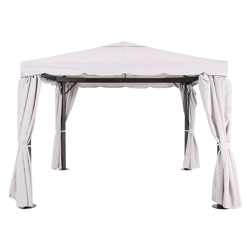 Pavillon Sahara - Aluminium/Stahl/Polyester - Anthrazit/Natur - Maße: 3 x 4 m, Leco