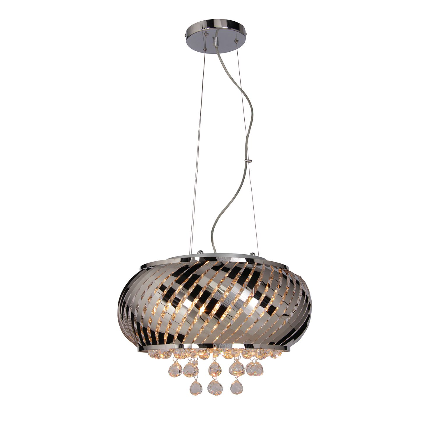 energie  A++, Hanglamp Crystallo by Näve - staal/zilverkleurig glas 6 lichtbronnen, Näve