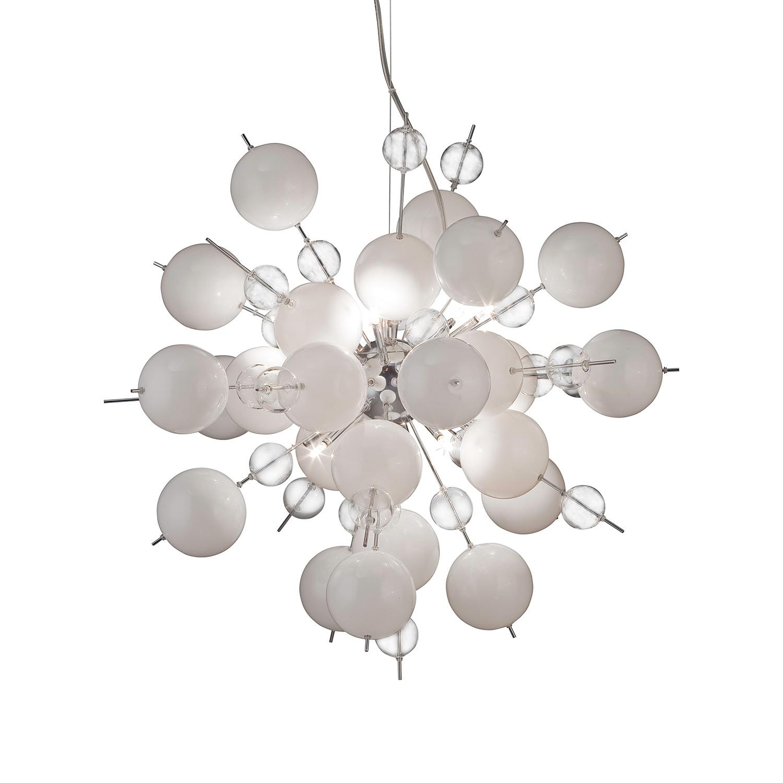 Pendelleuchte Glasball Explosion Weiß ● Metall ● 10-flammig- Näve A++