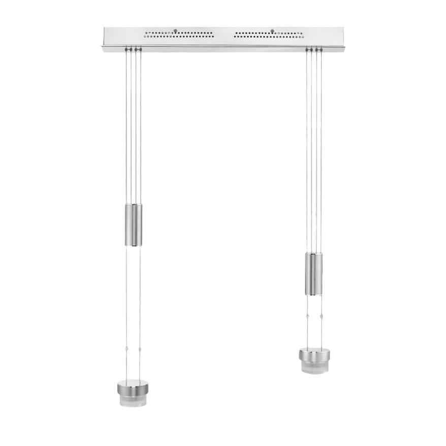 EEK A+, Pendelleuchten-Armatur 2-flg. Nickel matt-verchromt - M6 Licht / Medium1-LED, Fischer Leuchten