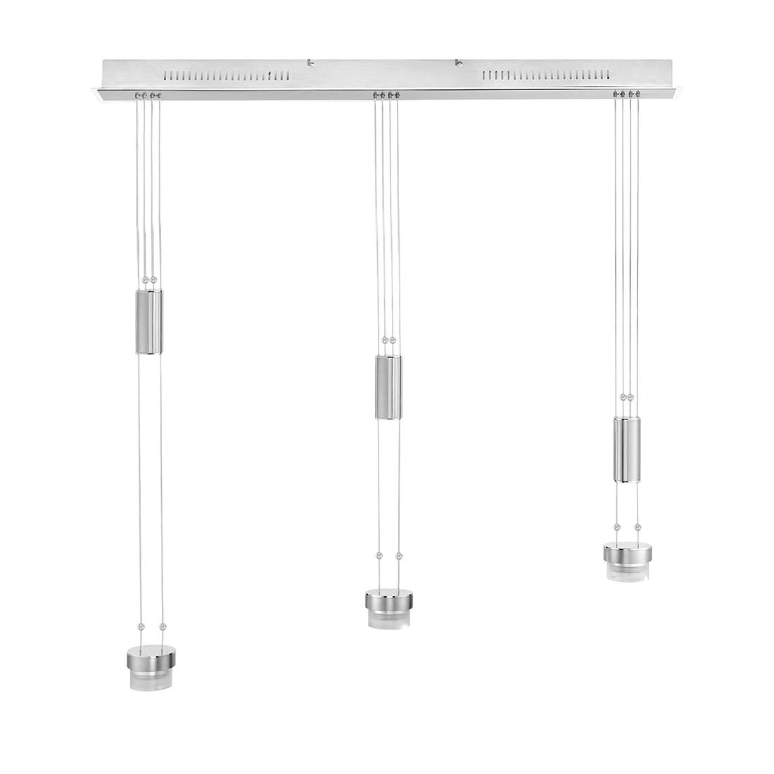 EEK A+, Pendelleuchten-Armatur 3-flg. Nickel matt-verchromt - M6 Licht / Medium1-LED, Fischer Leuchten