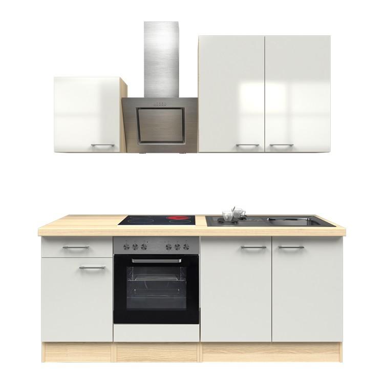 Küchenzeile Louis – Einbaugeräte – Spüle – 210 cm – Perlglanz Softwhite – Akazien Dekor, Modus Küchen günstig online kaufen
