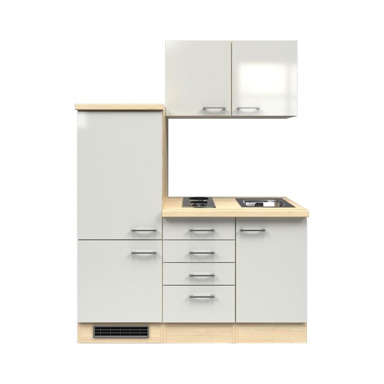 Küchenzeile Timm – Einbaugeräte – Spüle – 160 cm – Perlglanz Softwhite – Akazien Dekor, Modus Küchen jetzt bestellen