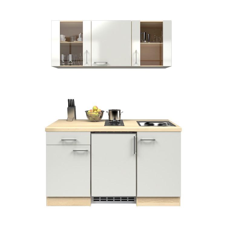 Küchenzeile Ole – Einbaugeräte – Spüle – 150 cm – Perlglanz Softwhite – Akazien Dekor, Modus Küchen kaufen