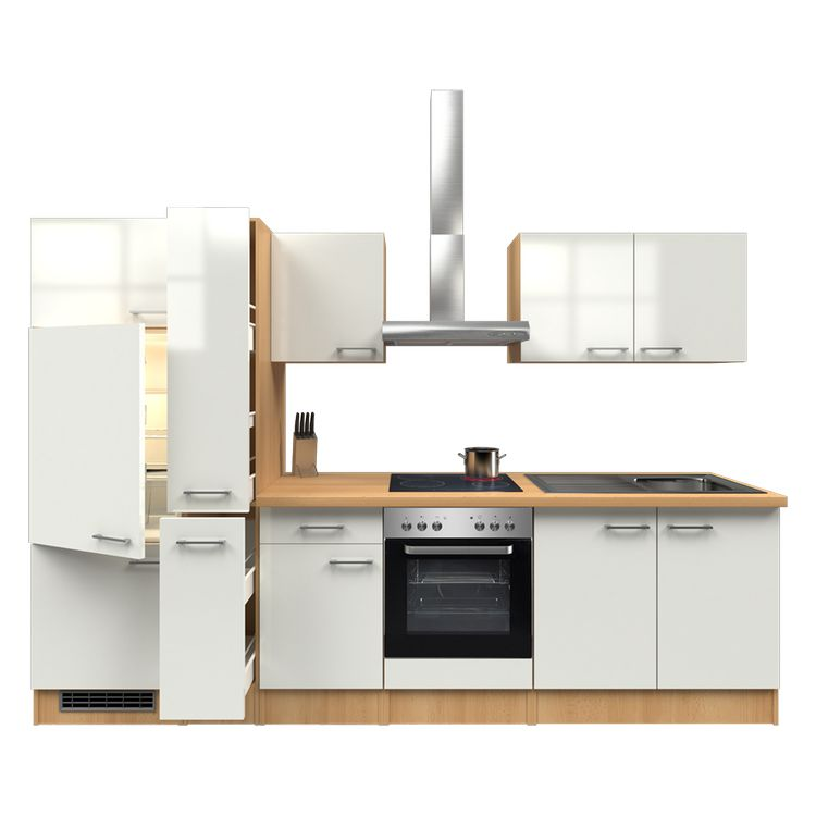 Küchenzeile Finn – Einbaugeräte – Spüle – 300 cm – Perlglanz Softwhite – Buche Dekor, Modus Küchen günstig online kaufen