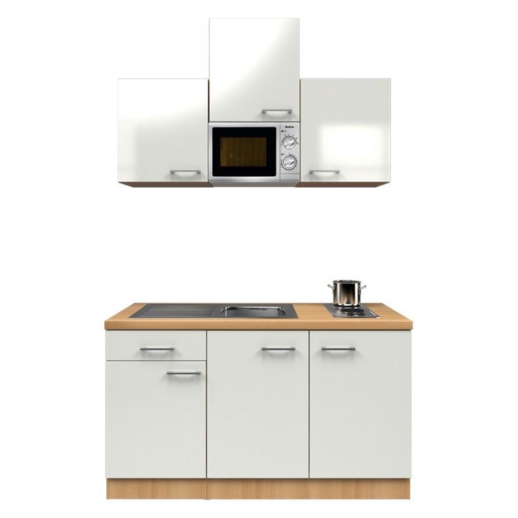 Küchenzeile Anton – Einbaugeräte – Spüle – 150 cm – Perlglanz Softwhite – Buche Dekor, Modus Küchen kaufen