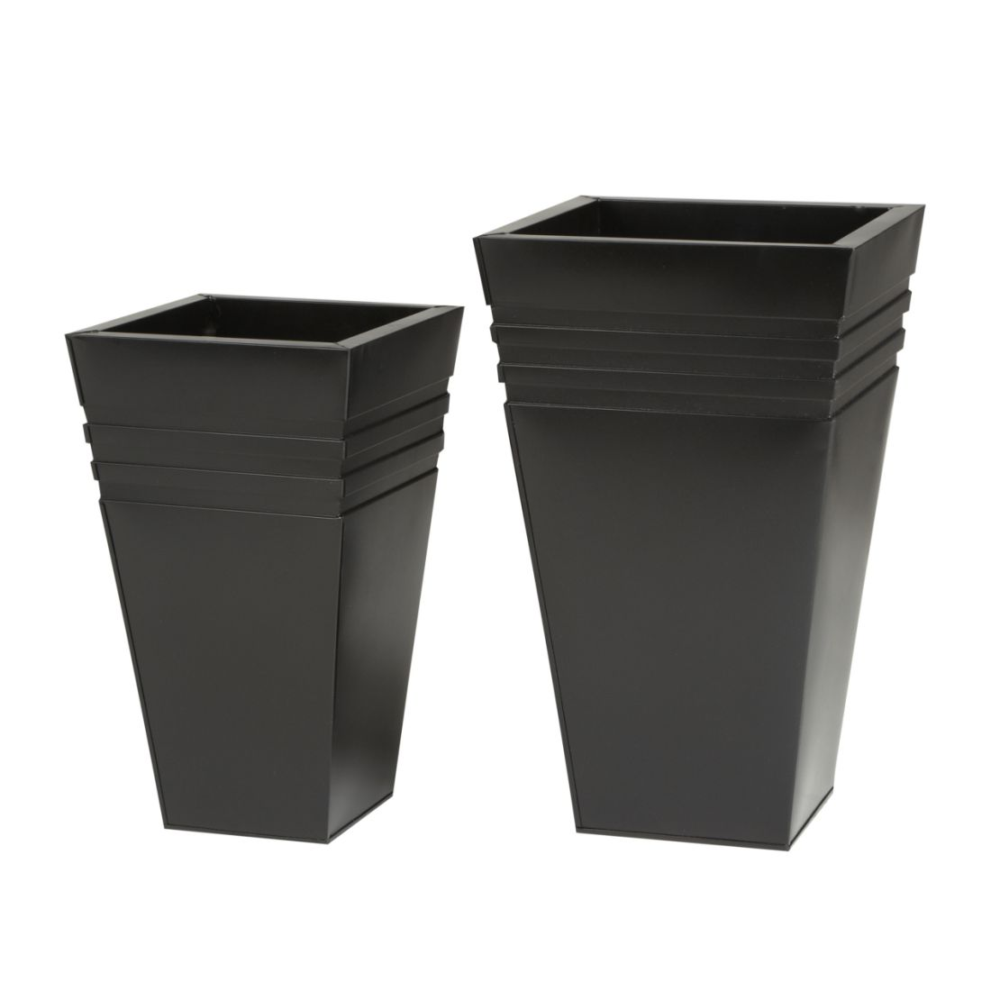 Pflanzkübel (2-teilig) – Verzinkt – Schwarz, Gartenfreude jetzt bestellen
