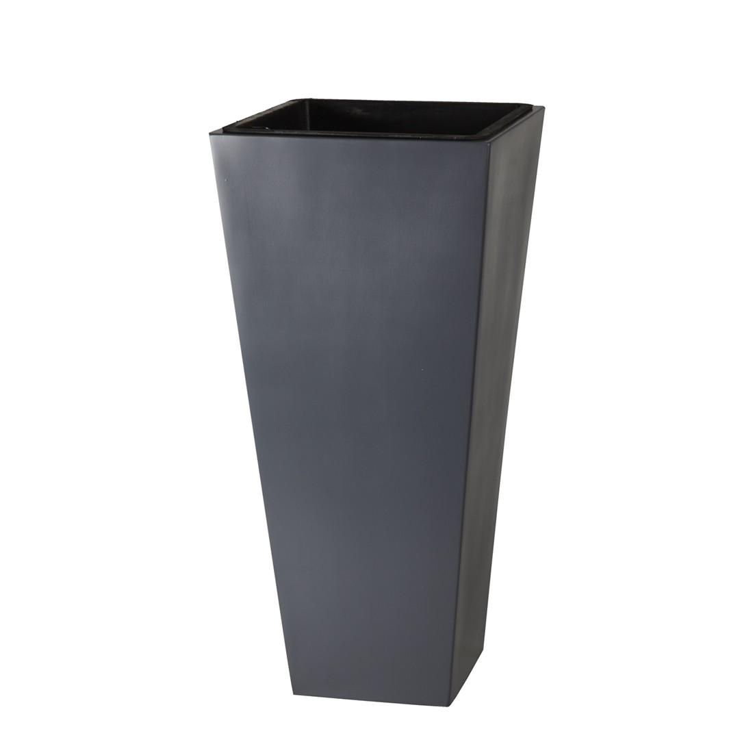 Pflanzkübel – 28 x 28 x 60 cm – Fiberglas – Grau, Gartenfreude günstig kaufen