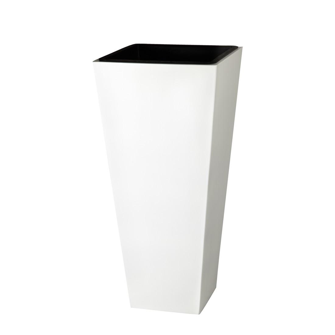 Pflanzkübel – 28 x 28 x 60 cm – Fiberglas – Weiß, Gartenfreude günstig online kaufen