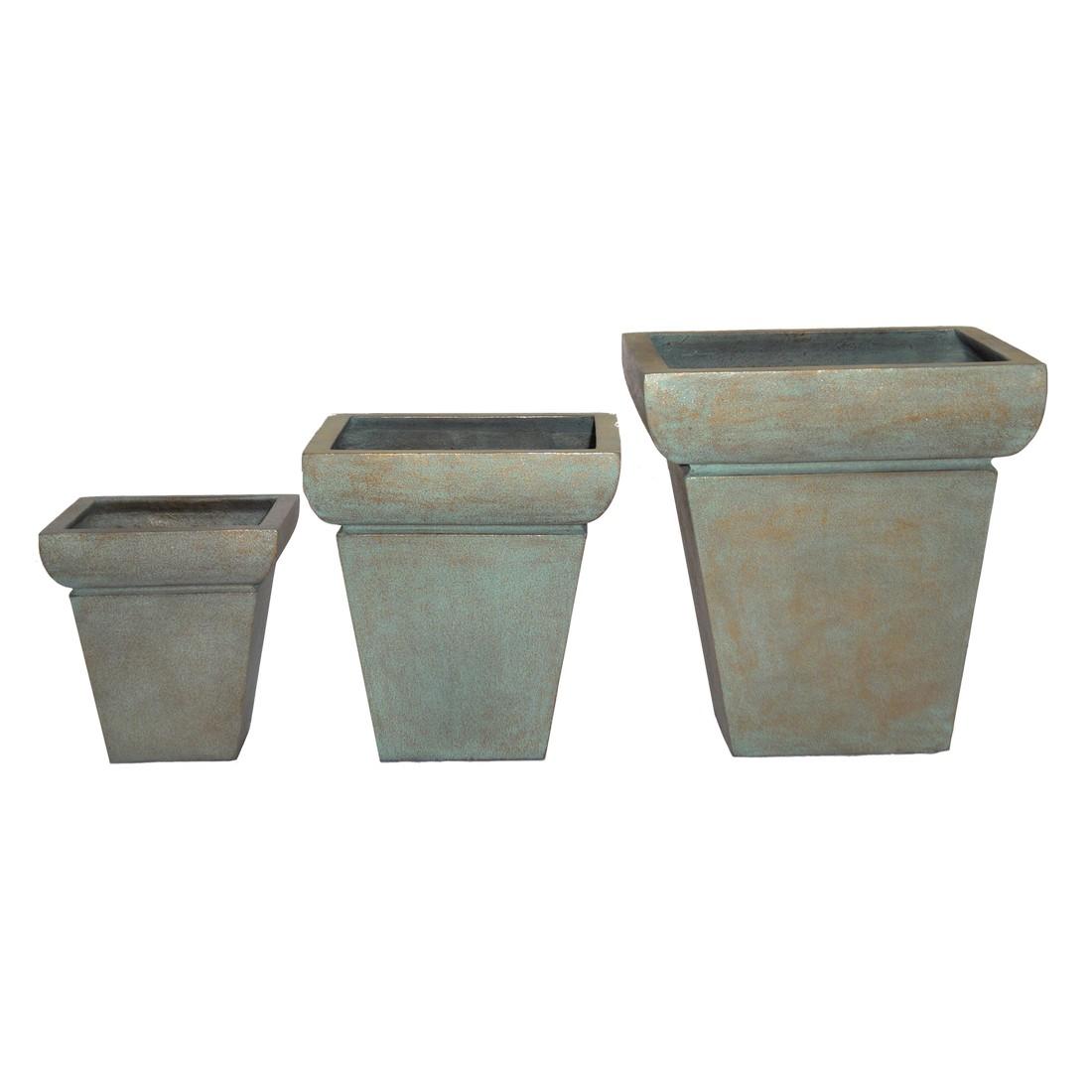 Pflanzkübel Copper Green – Kunststoff – Desgin Eckig – Mittel – 39 cm45 cm, Viducci's Garden bestellen