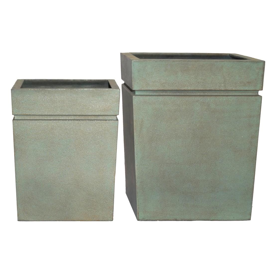 Pflanzkübel Copper Green – Kunststoff – Modern Eckig – Normal – 2er-Set, Viducci's Garden günstig