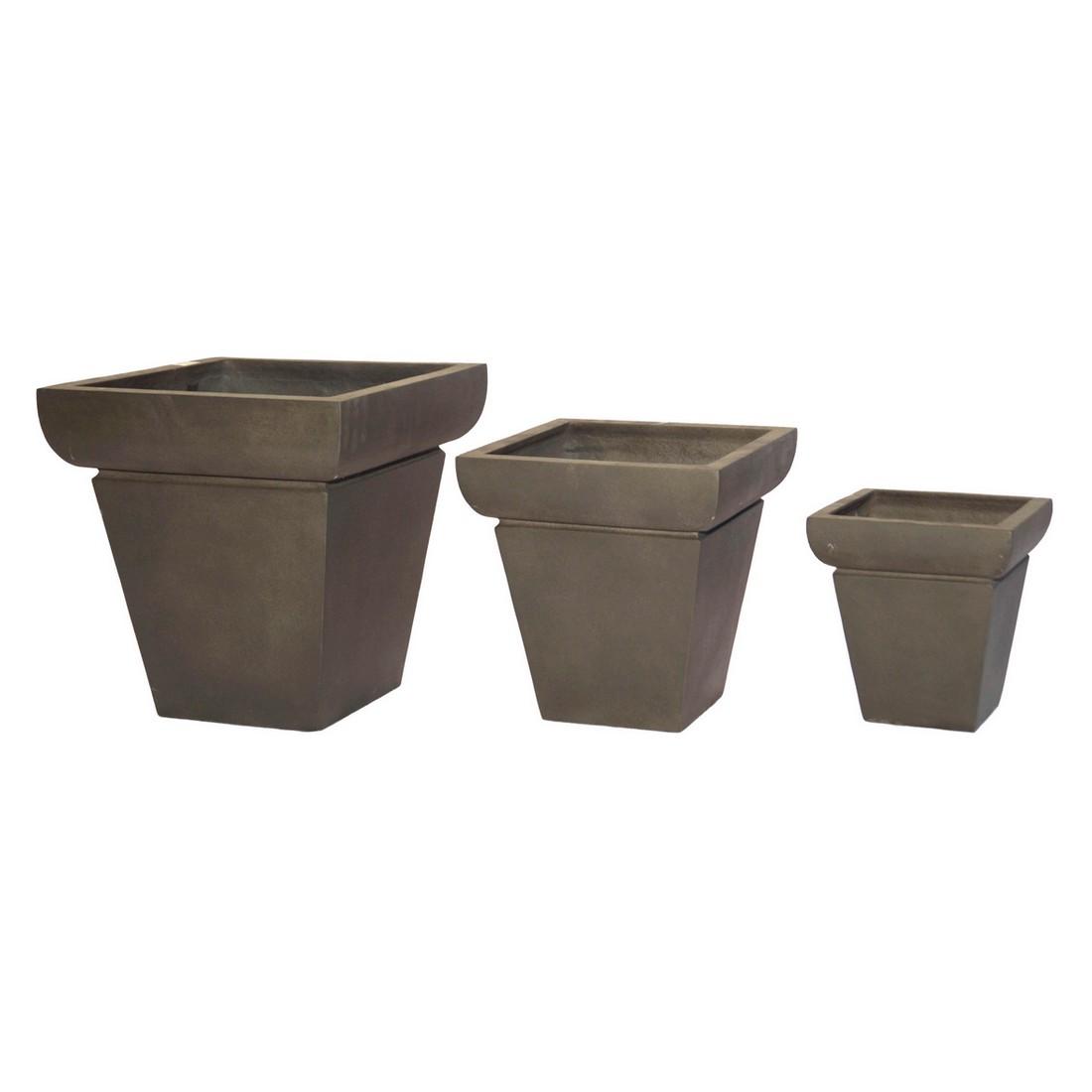 Pflanzkübel Espresso – Kunststoff – Desgin Eckig Mittel – Höhe: 48 cm Breit: 55 cm (einzeln), Viducci's Garden bestellen