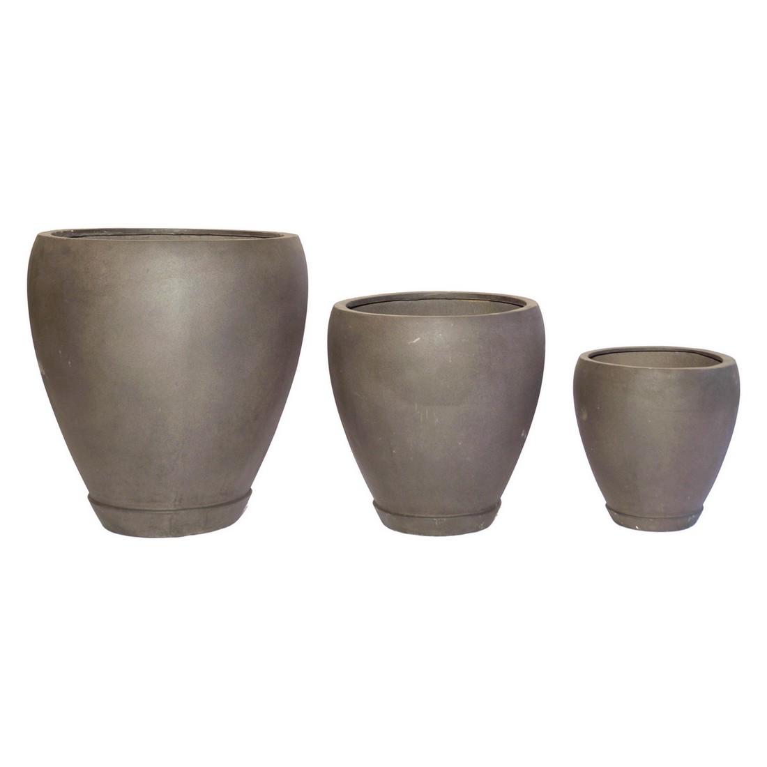 Pflanzkübel Espresso – Kunststoff – Rund Trendy – Höhe: 35 cm Ø: 34 cm (einzeln), Viducci's Garden günstig bestellen
