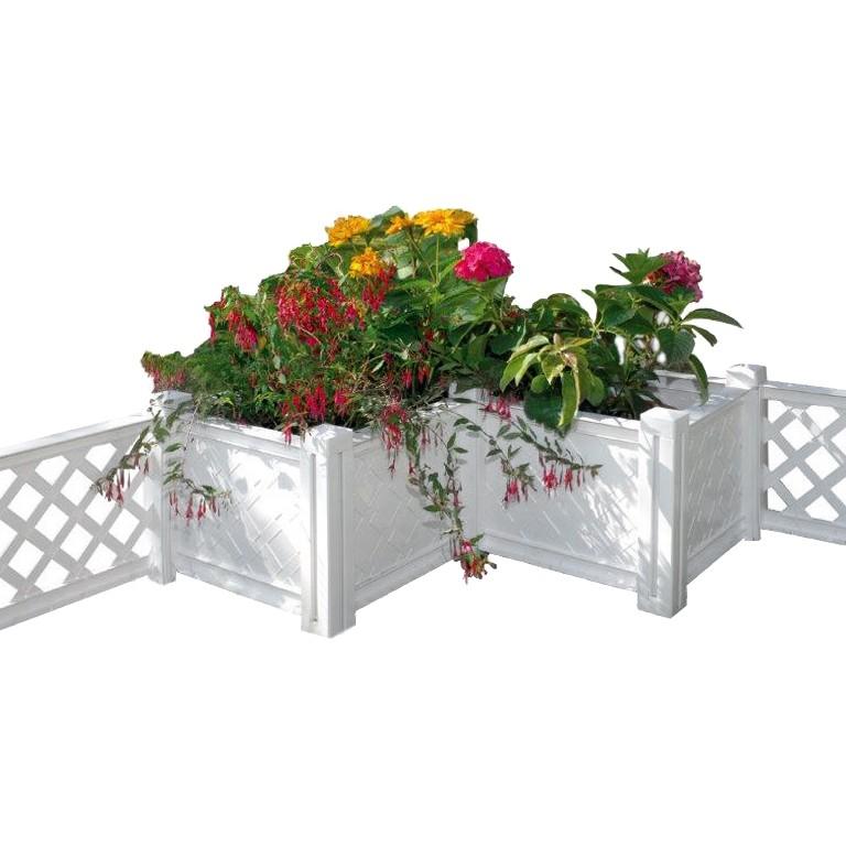 Pflanzkübel Florana – Ecke – Kunststoff Weiß, Khw günstig online kaufen